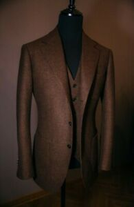Brown Men's Suit Tweed Check Tan Prom Groom Tuxedos Wedding Vintage Suits Custom
