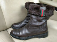 Gucci Vintage Fur Lined Brown Leather Booties Web Stripe Womens Shoes Boots