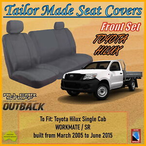 Canvas Seat Covers for Toyota Hilux Single Cab SR/Workmate: 03/2005 to 06/2015