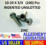 "(100 pcs) 10-24 x 3/4"" UNSLOTTED INDENTED ZINC Hex Head Machine Screws NH"