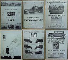 Job lot 6 french antique car adverts Lot 6 publicités Dedion Bouton Zebre 1924