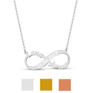 Unendlich Infinity Namenskette mit 2 Namen Wunschgravur Datum aus 925er Silber