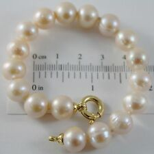 18K YELLOW GOLD BRACELET 7.5 INCHES WITH ROSE 10 MM FW PEARLS, MADE IN ITALY