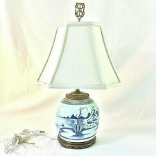 "Canton Antique Ginger Jar Table Lamp Shade Finial Blue White 20"" H 1800s Filagre"