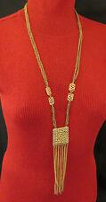 Vintage Statement Necklace Tassel Pendant 2 Strand Links 32 inch Gold Chain 782m