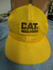 Yellow Caterpillar Diesel Power Vintage All Mesh snap-back Trucker Style Hat USA