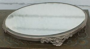 "BEAUTIFUL VINTAGE BEVELED GLASS ROUND FOOTED MIRRORED TRAY 12"" ART NOUVEAU"