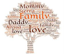 A4 Personalised Family Tree Word Art  Gift Keepsake Bespoke Any Words And Colour