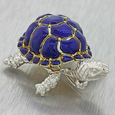 Vintage Retro Estate 18k Yellow Gold G VS1 Diamond Blue Enamel Turtle Brooch Pin