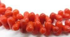 "Vintage Red Glass Faux Coral Bead Necklace Strand Molded Shape 45"" Long"