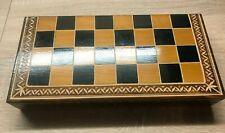 Schachspiel Schach Backgammon Holz geschnitzt mit Figuren Klappkassette Kassette