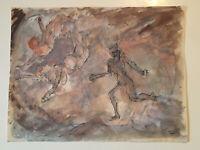 "Emil Hess Signed ""Nude Figures"" Original Watercolor 8"" x 10"""