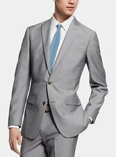 $400 Bar III Men's Light Grey Texture Pinstripe 44R Slim Fit Suit Jacket Blazer