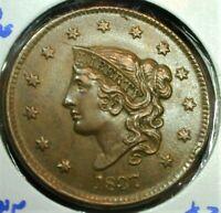 1837 Coronet Head Large Cent no stems Slider Unc   (541) ASSZ*