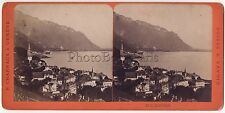 Montreux Suisse Photo F. CharnauxStéréo Vintage Albumine ca 1870