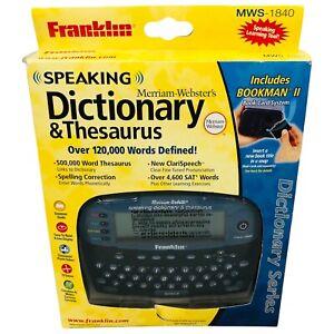 Franklin Speaking Dictionary Thesaurus Merriam Webster Bookman II MWS-1840 New