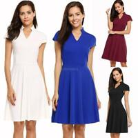 Women Stand V-Neck Cap Sleeve Solid Fit and Flare Cocktail Party Dress GFEQ