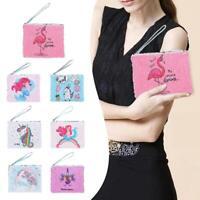 Sequin Pencil Case Kids Girls Cartoon Clutch Coin Purse Zipper Cosmetic Bag