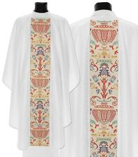 White Gothic Chasuble with stole G115-B25 Vestment Casulla Blanca Casula Bianca