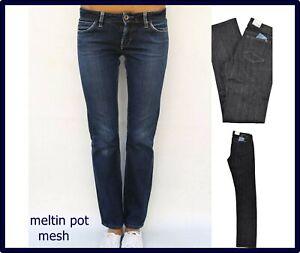jeans da donna meltin pot vita bassa elasticizzati neri dritti gamba dritta w27