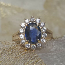 1.75 Ct Natural Diamond Oval Cut Blue Sapphire Ring 14K Real White Gold Size L M
