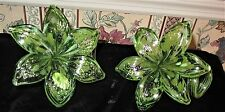2 Hand Blown Murano Italian Glass Green Sparkle Twisted Stem Flower Italy w Tag