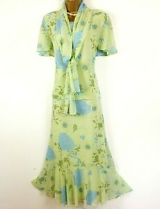 Jacques Vert Floral Mother Of the Bride Outfit Skirt Top Scarf UK 14
