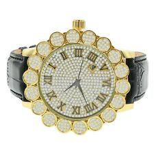 Mens Flower Bezel Diamond Designer Watch Roman Numbers Gold Finish Leather Band