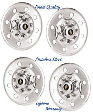 "16"" TRAILER, TRUCK & VAN SNAP ON WHEEL RIM COVERS HUBCAPS STAINLESS STEEL SET ©"