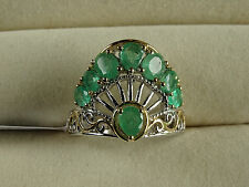 1.75Cts Genuine Zambian Emerald Art Deco 14K Y Gold/Plat/925 Ring Size N/6.5