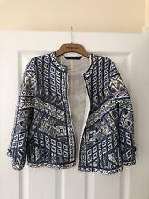 Zara Blue Aztec Style Embroidered And Beaded Jacket UK M
