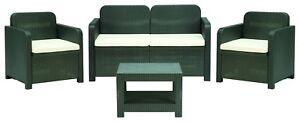 Italian Patio Furniture Set 2 Chairs, Love Seat, Coffee Table Poly Rattan Black