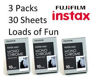 Fujifilm instax mini B&W Monochrome Film (30 Exposures) Black and White Fuji
