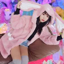 Sweet Lolita Rabbit Ears Winter Japanese Kawaii Plush Sweater Hoodie Jacket Coat