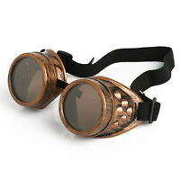 Vintage Victorian Steampunk Goggles Glasses Welding Cyber Punk Gothic Cosplay SS