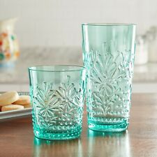 THE PIONEER WOMAN SUNNY DAYS TUMBLER PLASTIC DRINKING GLASS 16 & 24 OZ Teal