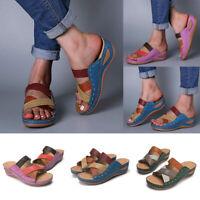 ❤️ Womens Orthopedic Wedge Heel Slip On Open Toe Mules Summer Sandals Shoes Size
