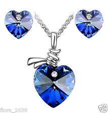 Parure plaqué or, cristal coeur bleu collier, pendentif, boucles d'oreilles Neuf