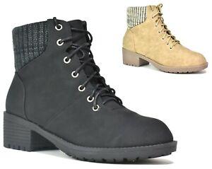 Ladies Women's Walking Hiking Winter Warm Fur Combat Style Ankle Boots