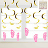BABY SHOWER PINK SWIRL DECORATIONS PACK OF 6 HANGING DECORATION PARTY SUPPLIES