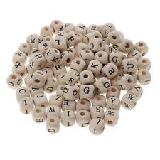 100x lettres de l'alphabet en bois blanc perles de cube en vrac pour