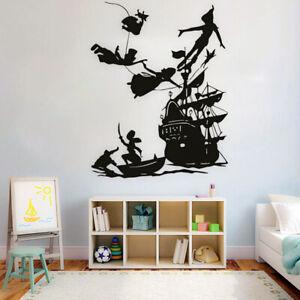 Boys Girls Peter Pan Wall Decal Cartoon Decor Vinyl Home Waterproof Wall Sticker