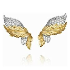 14k Yellow Gold over 925 Sterling Silver Round CZ Feather Design Party Earrings