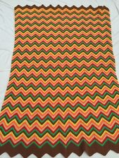 Vintage Handmade Afghan Throw Zig Zag Bright Multicolored Green Yellow Red Brown