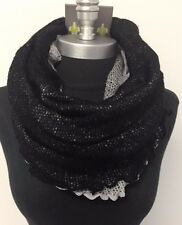 Women Winter Warm knitted crochet 1-Circle Cowl Infinity Scarf Wrap Black/Gray