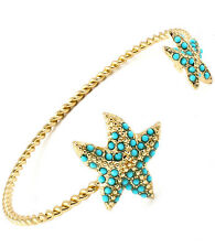 Gold Tone Faux Turquoise Starfish Star Fish Bangle Cuff Bracelet -Adjustable