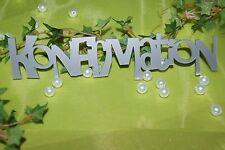 Tischdekoration Tischdeko  Dekoration Konfirmation Schriftzug silber
