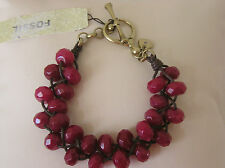 Fossil Brand Woven Red 2-Row Bead Bracelet