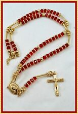 HIP HOP High Quality GOLD Jesus Cross RED Rosary Beaded Long Fashion Necklace