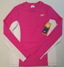 Speedo Youth Girl's M Swim Shirt Long Sleeve Blocks UV Rash Guard Pink White B2